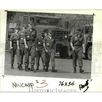 1985 Press Photo Civil Air Patrol Pathfinder Cadets preparing for drill.