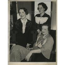 1934 Press Photo Fidelis O'Keefe, Mrs. Arthur Sargent, Mrs. Joseph Bronaugh