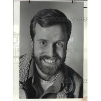 1984 Press Photo Eric Olson hiker and his old hiking shoes. - cvb71709