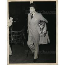 1934 Press Photo New York Marquis De La Falais De La Courdaye arrives in NYC