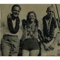 1934 Press Photo Bert Hunbel Jack Nicholas & Jean Felter to cross Pacific