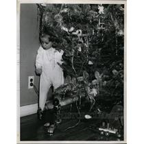 1949 Press Photo Christmas Tree wires warning from Brooklyn Red Cross