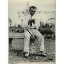 1936 Press Photo Quebec golfer Jules Huot checks first round score, Miami Open