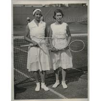 1933 Press Photo Dorothy Round bets Sarah Palfrey in Wightman Cup tennis match