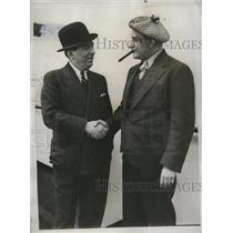 1935 Press Photo Max Schmeling's manager Joe Jacobs, promoter Jimmy Johnston