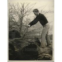 1928 Press Photo Light heavyweight boxing contender Joe Sekyra chopping wood