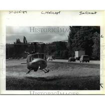 1989 Press Photo Huey H-1, based in Portland, made an emergency landing