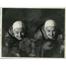 1936 Press Photo Erna & Elizabeth Lompa of NY at Miami Biltmore Swim meet