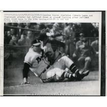 1957 Press Photo Braves shortstop Johnnie Logan & Reds pitcher Hal Jeffcoat