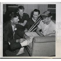 1944 Press Photo Cubs Charley Grimm, Jack Stasny, John Pederson, Don Holt