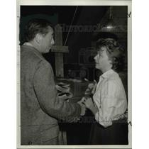 "1961 Press Photo Macdonald Carey and Joan Tetzel in ""The Devil's Ticket"""