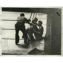 1932 Press Photo Boxers H. Gwynne and H. Ziglarsk fall during Olympic match