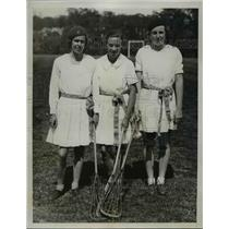 1935 Press Photo US Womens Lacrosse Sue Cross, Virginia Allen, Libby Toulman