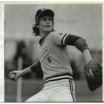 1984 Press Photo Junior Dick Hubbell returns for the Hudson's Bay baseball team
