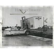 1956 Press Photo Railroad Piggyback Freight Hauling
