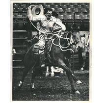 1985 Press Photo Calf Roping Joe Bob Locke Competition