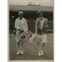 1929 Press Photo Senorita de Alvarez vs Signora Serpiero at Wimbledon tennis