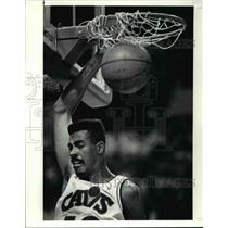 "1990 Press Photo John ""Hot Rod"" Williams joins in the second half dunkstorm."