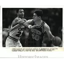 1992 Press Photo Richfield Ohio-Cleveland Cavaliers vs Detroit Pistons