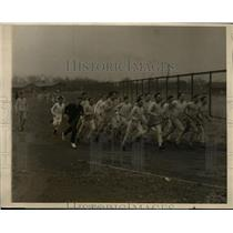 1926 Press Photo Candidates for Harvard Track team led in run by AD Bill Bingham