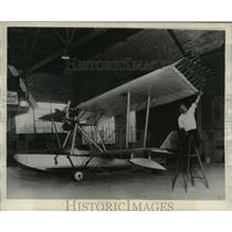 1931 Press Photo Plane Built by Professor Hans Hocke at Milwaukee Airport