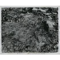 1954 Press Photo Debris and burned-out buildings in recent fire in Seoul Korea