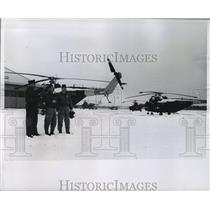 1965 Press Photo Col.John Sarko,Maj.Kenneth Peterson,CWO Darold Hoelz w/ copters