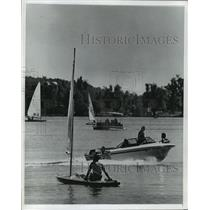 1976 Press Photo Many boats on Pike Lake in Wisconsin - mja32505
