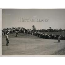1937 Press Photo Golfers Frank Walsh and Ed Dudley at Oakland Hills Country Club