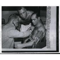 1955 Press Photo Carl Bobo Olson, Ralph Tiger Jones, Dr John Pribble in Chicago