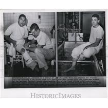 1957 Press Photo Charlie Ane & Jim David, Injured Detroit Lions Football Players