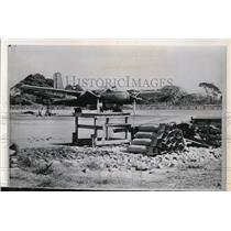 """1961 Press Photo B-26 Plane on the Airstrip at the """"Mystery Base"""" in Retalhuleu"""
