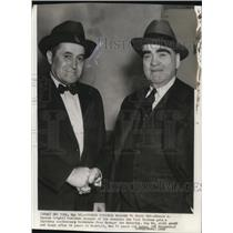1938 Press Photo Edward G. Barrow gets anniversary handshake from Joe McCarthy