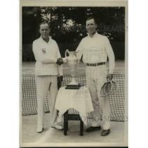 1929 Press Photo Col Walt Johnson Army tennis & Cmdr WS Anderson of Navy