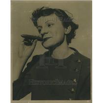 1936 Press Photo Woman Smoking Fat Cigar Curly Hair
