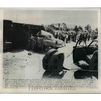 1950 Press Photo accident between 5 cars and 2 trucks in Ann Arbor Michigan.