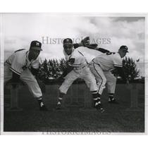 1955 Press Photo Left to right, Humberto Robinson, Roberto Varas, Glen Thompson.