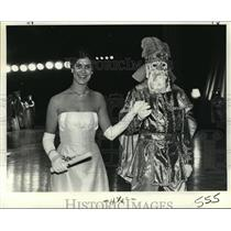 1970 Press Photo Maid Kathleen Favrot with Unidentified Escort at Carnival Ball