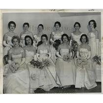 1960 Press Photo Court Maids to the Queen of Ball of High Priests of Mithras