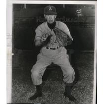 1950 Press Photo Connie Mack turns back the clock and dons a baseball uniform.