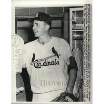1957 Press Photo Billy Muffett, newest pitching member of St Louis Cardinals.