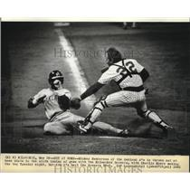1982 Press Photo Rickey Henderson of Oakland A's out at home plate in sixth