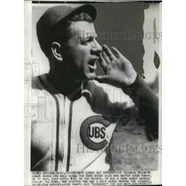 1937 Wire Photo Baseball-Charlie Grimm, Cubs Manager shout for his boys.