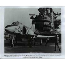 1978 Press Photo Crewmen of the USS Coral Sea work on jet fighter during cruise
