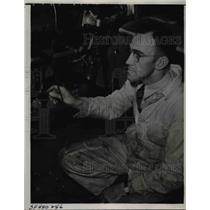 "1938 Press Photo ""Oshkosh"" Wittman, Pilot Working on Plane - nef33334"