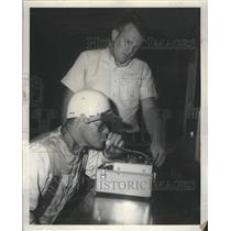 1962 Press Photo Gearhardt gives breath analyzing test