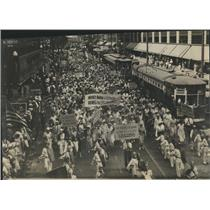 1933 Press Photo Chicago Teachers Demonstration Station