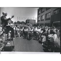 1961 Press Photo Jaywalking Prudential Building West