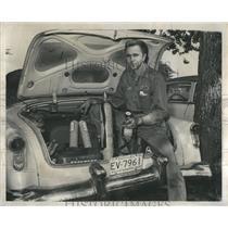 1956 Press Photo Car Trunk Explosives