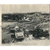 1944 Press Photo Cars Blown Autos Dock Area Munitions